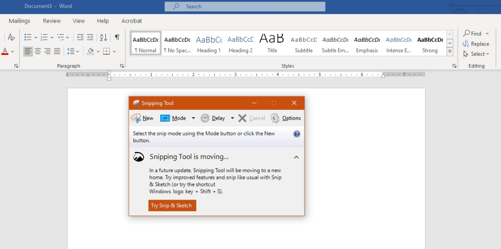 Snipping Tool is moving...