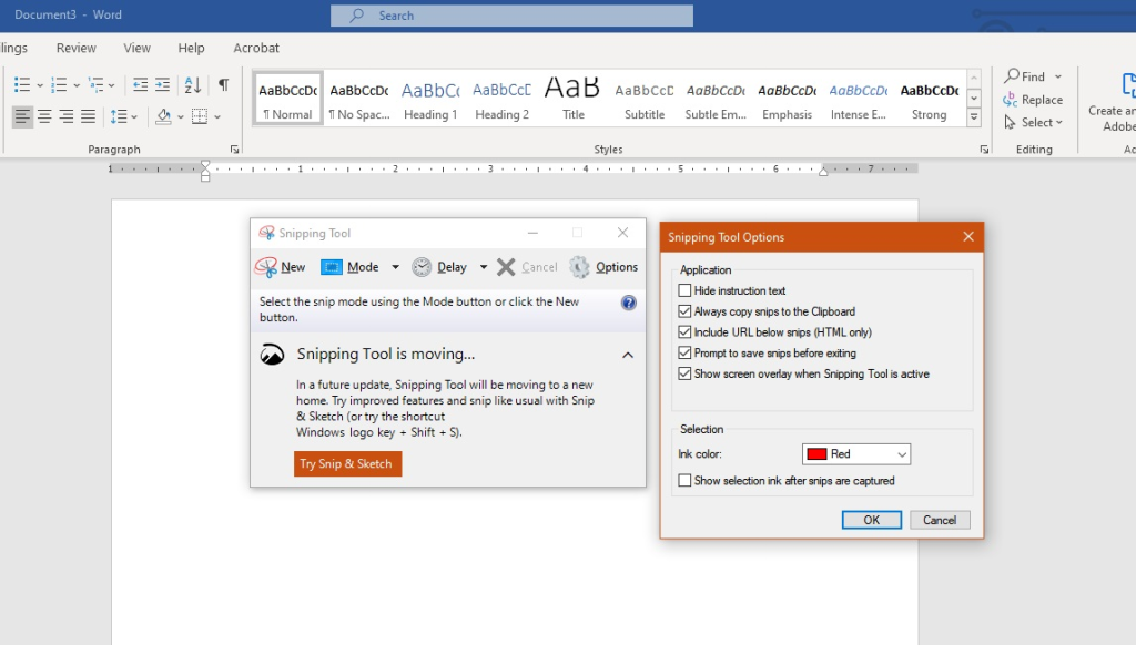 The Snipping Tool Options